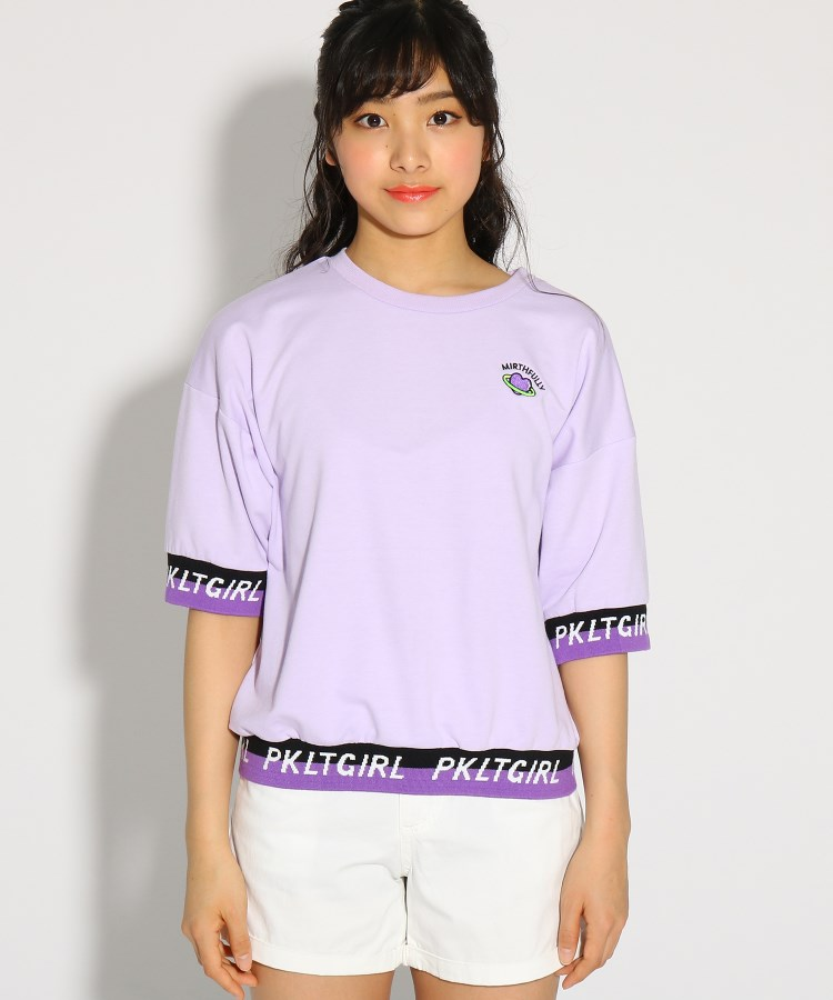 PINK-latte(ピンク ラテ)袖裾ロゴ5分袖プルオーバー