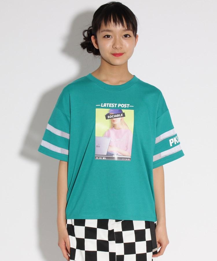 PINK-latte(ピンク ラテ)転写袖すけライン Tシャツ