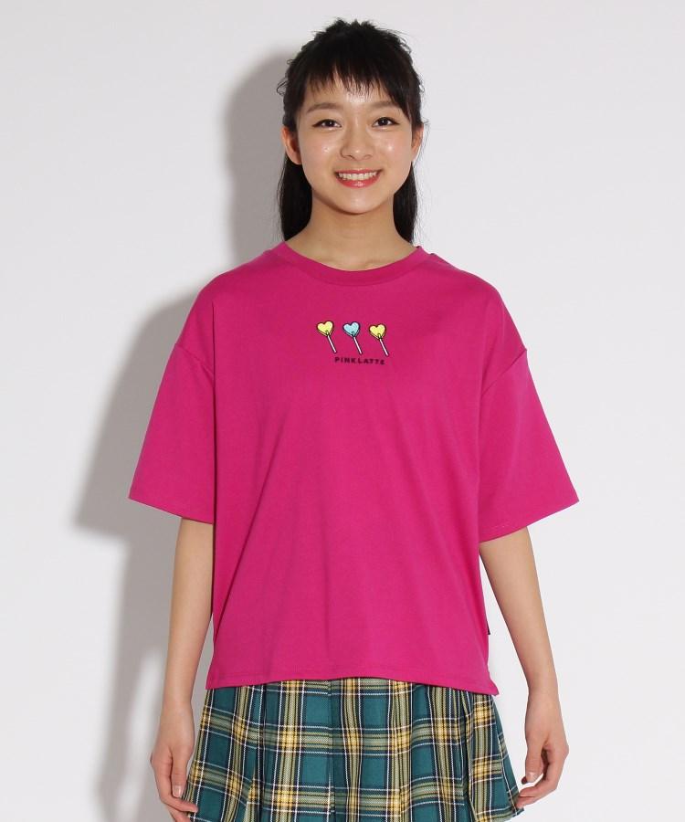PINK-latte(ピンク ラテ)★ニコラ掲載★ポイント刺繍BIG Tシャツ
