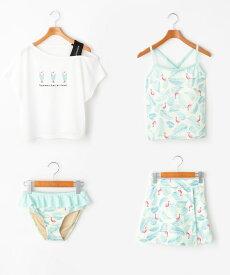 PINK-latte(ピンク ラテ)トロピカル柄水着+Tシャツ+スカートセット