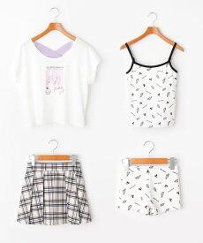 PINK-latte(ピンク ラテ)転写水着+Tシャツ+プリーツスカートセット