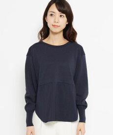 Modify(モディファイ)布帛切り替えコットン(綿)混ニット