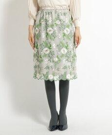 SunaUna(スーナウーナ)【洗える】花柄刺繍チュールスカート