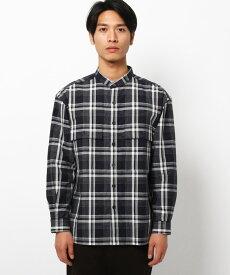 THE SHOP TK(Men)(ザ ショップ ティーケー(メンズ))長崎和紙混紡チェックバンドカラーシャツ