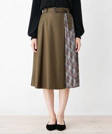grove(グローブ)チェックプリーツ切り替えアシメスカート