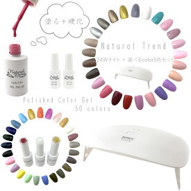 【メール便送料無料】 ジェルネイル 選べる5色ジェルセット ポリッシュジェル UV/LEDライト付き