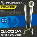 トロフィー ゴルフ【文字彫刻無料】クリスタルガラス ゴルフコンペ用品/265mm