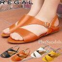 リーガル REGAL レディース サンダル 靴 フラットサンダル ストラップサンダル ぺたんこ 歩きやすい オフィス ローヒール 本革 黒 白 …