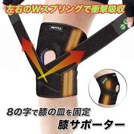 スプリング内蔵 膝用サポーター 反発力で膝の動きをスムーズに スポーツ ウォーキング等に ベルト 通異性 伸縮性 サポートベルト 4本ボーン入 シリコン 男女兼用