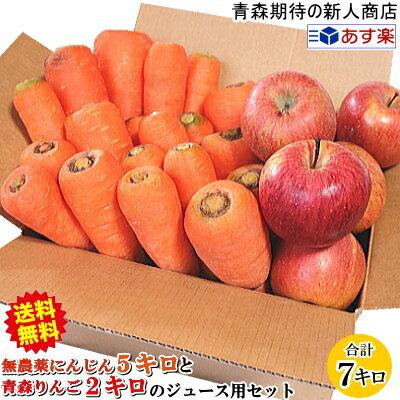 【送料無料】無農薬にんじんとりんごのジュース用セットニンジン5キロとリンゴ2キロ 訳あり 合計7キロ農薬にんじんとりんごの人参ジュース用セット保存袋のおまけ付き加工・ジュース用にんじんジュースに最適