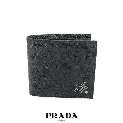 プラダ/PRADA メンズ 折財布/サイフ SAFFIANO METAL 2MO912 QME (NERO/ブラック:F0002) 2つ折財布/小物/プレゼント/誕生日/パーティー/バレンタイン/父の日/クリスマス