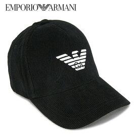 【2020-21秋冬新作】 エンポリオアルマーニ/EMPORIO ARMANI ユニセックス キャップ 627504 0A523 (BLACK/00020) ブラック/CAP/刺繍/帽子/野球帽/ベースボールキャップ/コーデュロイ/メンズ/レディース/男女兼用