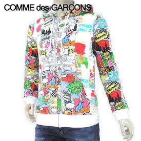 【2019-20秋冬新作】 コムデギャルソンシャツ/COMME des GARCONS SHIRT メンズ ジップアップパーカー W27100 (ホワイト/アメコミプリント/1) ジップパーカー/パーカー/フーディー/アメコミ/長袖/大きいサイズ-t