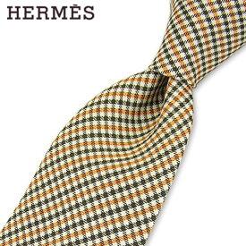 エルメス/HERMES メンズ ネクタイ 339213T (オレンジ系/02) 小物/総柄/チェック柄/結婚式/プレゼント/誕生日/就職/パーティー/バレンタイン/父の日/クリスマス/成人式
