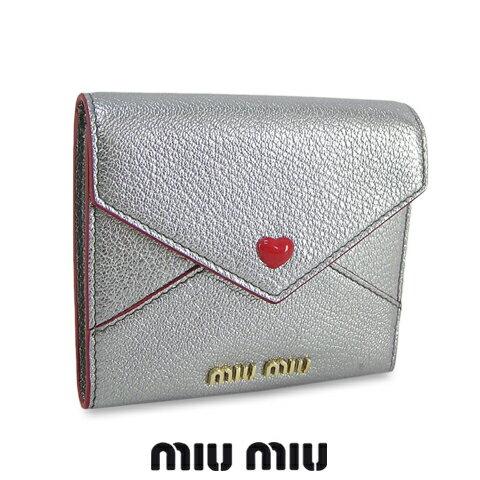 【ポイント最大4倍!】 ミュウミュウ/MIU MIU レディース 3つ折財布/サイフ MADRAS LOVE 5MH014 2BC3 (シルバー/CROMO:F0135) miumiu/MADRAS LOVE/マドラス ラブ セール品