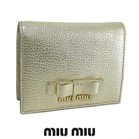 ミュウミュウ/MIU MIU レディース 2つ折り財布/ミニ財布/ミニウォレット/サイフ MADRAS FIOCCO 5MV204 3R7 (ゴールド/PIRITE:F0846) /miumiu/MADRAS FIOCCO/マドラス フィオッコ セール品