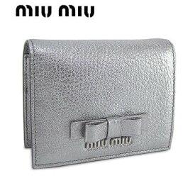 ミュウミュウ/MIU MIU レディース 2つ折り財布/ミニ財布/ミニウォレット/サイフ MADRAS FIOCCO 5MV204 3R7 (シルバー/CROMO/F0135) /miumiu/MADRAS FIOCCO/マドラス フィオッコ/SL品