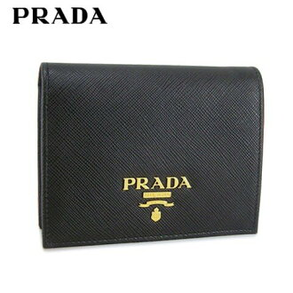 Prada /PRADA fold wallet / wallet SAFFIANO METAL 1MV204 QWA (NERO/ black /F0002) two fold wallet / accessory / present / birthday / party / Valentine / Father's Day / Christmas / unisex / man and woman combined use / gold metal fittings sale product