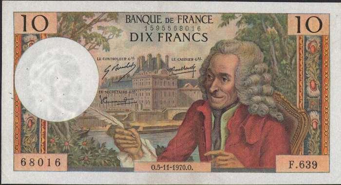 フランス 10 francs 哲学者ヴォルテールとチュイルリー宮殿 1973年 極美++