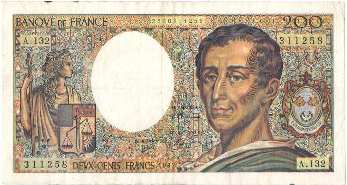 フランス 200 francs 『法の精神』哲学者モンテスキュー 1989-92年 極美