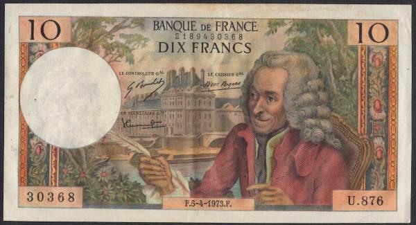 フランス 10 francs 哲学者ヴォルテールとチュイルリー宮殿 1973年 極美