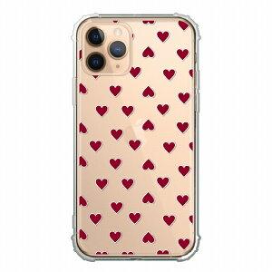 TPUケース 衝撃吸収 耐衝撃 デザイン iPhone12対応ケース クリアケース ハードケース iPhone12Promax iPhone12mini iPhoneSE(第2世代) iPhone11ProMax iPhoneX/XS iPhoneXR iPhone8plus ケースハート 総柄 レッド フェミニ