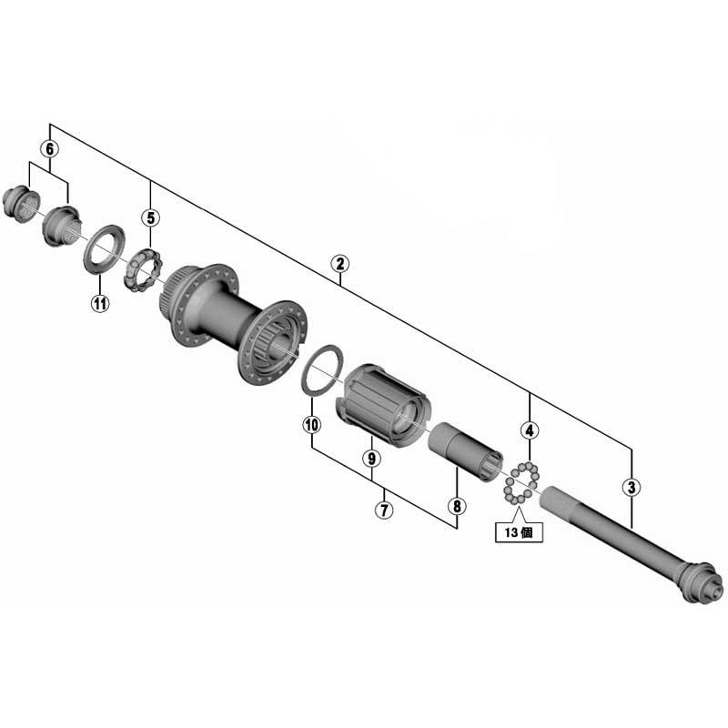 シマノ [2]ハブ軸組立品(玉間135mm)