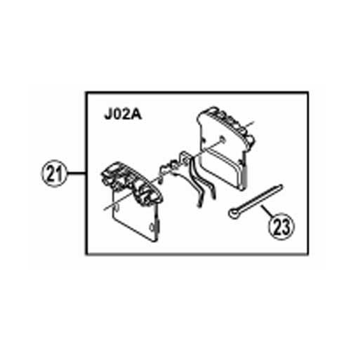 [21]レジンパッド(J02A)フィン付&押えバネ (割りピン付)
