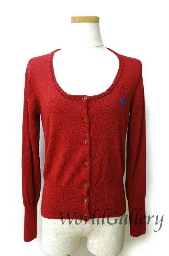 【中古】ヴィヴィアンウェストウッド Vivienne Westwood レディース ファッション カーディガン ウール 毛 レッド 赤 ロゴ サイズ3 Sサイズ Mサイズ