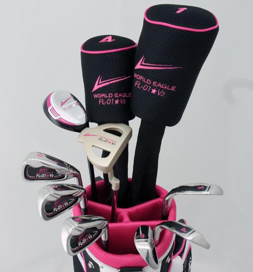 【展示品アウトレット】【訳あり】ブラックピンクのROCK'N'ROLL!☆レディース13点ゴルフクラブセット 女性用/右用【初心者 初級者 ビギナー】【送料無料】【0824楽天カード分割】【あす楽】