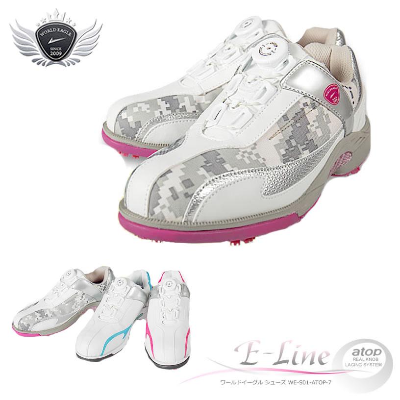 無料特典あり!軽量、柔らか設計なので歩きやすく疲れにくい女性用ゴルフシューズ。ワイドな3E タイプ。スパイクは8個装着。多少の雨や水の侵入を防ぐ防水性能。25cmの大きいサイズの靴もご用意。【沖縄/北海道は別途送料必要】【あす楽】