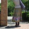Rose / floral design / wrap skirt / long skirt / mi-mollet length / ethnic / horse mackerel Ann / fashion / spring / summer / forest girl
