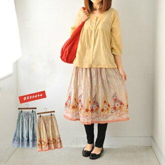 Floral / skirt / long skirt / MIME-length / ethnic / Asian / fashion / spring / summer / Mori girl / retro ladies