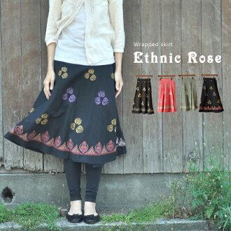 India cotton rose wrapped skirt ethnic rose black knee-length wrap skirt Asian ethnic skirt Asian fashion