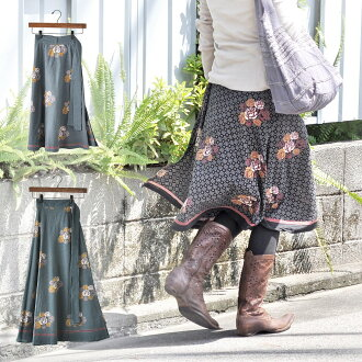 """""""Cat POS is possible to one point"""" a forest girl Indian cotton roll skirt """"yukata Rose series"""" rose floral design wrap skirt knee-length mi-mollet length fashion horse mackerel Ann ethnic in the spring and summer"""
