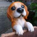 犬の置物 ビーグル ハンギングドッグ 6146H いぬ イヌ 動物 オーナメント ガーデン オブジェ 庭 雑貨 ガーデニング インテリア マスコット リアル 陶...