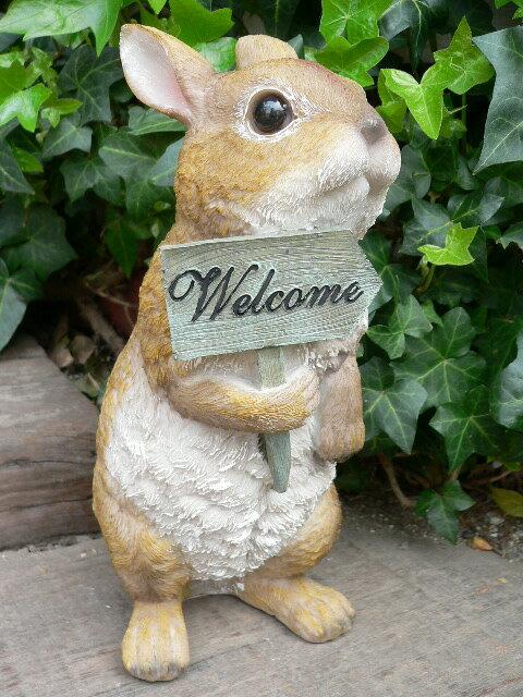 うさぎの置物 ウサギ ウエルカムラビットI 12012N 兎 ガーデンオブジェ オーナメント ネコ 雑貨 ガーデン オブジェ ガーデニング インテリア マスコット アニマル リアル ディスプレィ