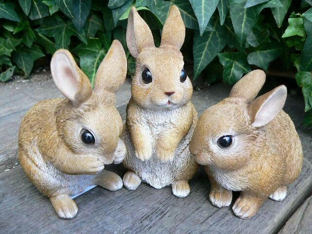 うさぎの置物 ミニフレンドラビット3匹セット N12150 ウサギ ラビット 兎 オーナメント ガーデン オブジェ インテリア 置物 マスコット オーナメント ディスプレイ 庭 玄関 ガーデニング リアル