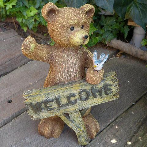 くまの置物 ウエルカム くまさん 鳥 N11224 動物 オーナメント ガーデン 雑貨 オブジェ インテリア 置物 熊 クマ