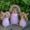 うさぎの置物きのこウサギ親子3羽セット6295・98Hピンクラビット兎オーナメントウサギラパンオーナメントきのこオブジェガーデンガーデニングマスコット雑貨ディスプレィ
