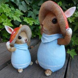 うさぎの置物 きのこウサギ親子2羽セット BL 6294・97H ブルー ラビット 兎 オーナメント ウサギ ラパンオーナメント きのこ オブジェ ガーデン ガーデニング マスコット 雑貨 ディスプレィ