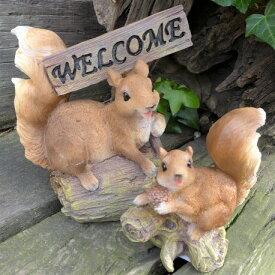 りすの置物 リスのウエルカム リスの親子 N13461 動物 オーナメント オブジェ ガーデン ガーデニング 庭 置物 マスコット 雑貨 小物 ディスプレイ リアル
