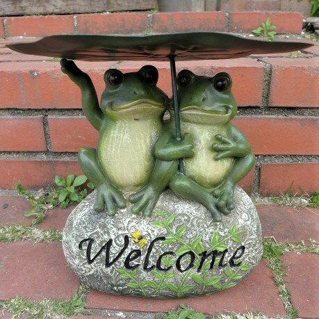 カエルの置物 かえるウエルカムストーン 12251N 動物 置物 玄関 オブジェ ガーデン オーナメント ガーデニング ガーデンオブジェ アニマル リアル 庭