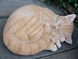 猫の置物 茶虎猫 居眠り猫 B 40QYN12689 キャット ガーデンオブジェ CAT 動物 オーナメント ネコ インテリア 置物 マスコット ディスプレイ 庭 玄関 ガーデニング インテリア 雑貨