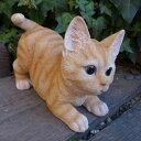 猫の置物 とび猫(茶トラ) キャット ガーデンオブジェ CAT 12693N  動物 オーナメント ネコ 雑貨 ガーデン インテリア