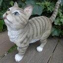 猫の置物 グレーの猫 9595H キャット ガーデンオブジェ CAT 動物 オーナメント ネコ 雑貨 ガーデン インテリア