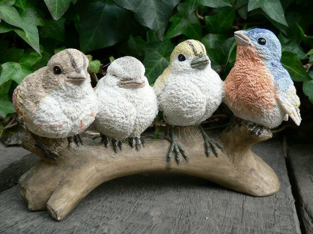 森の仲間たち バード4羽セット 小鳥 とり トリ 11011N オーナメント ガーデン オブジェ ガーデニング オブジェ 置物 ガーデンマスコット リアル ディスプレィ