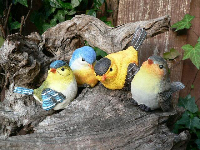 バード4羽セット(S) 小鳥 とり トリ オブジェ 動物 オーナメント 632H ガーデン ガーデニング インテリア 置物 マスコット 庭 リアル ディスプレィ