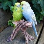 小鳥の置物インコの置物ツイン13101Nとりトリオブジェ動物オーナメントガーデン庭マスコット雑貨置物小物リアルディスプレィ