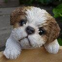 犬の置物 シーズ ハンギングドッグ 1121QYL いぬ イヌ 動物 オーナメント ガーデン オブジェ 庭 雑貨 ガーデニング インテリア 雑貨 マスコット ディスプレィ 陶器 リアル